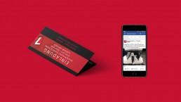 Printeinladungskarte und daneben Ein Handy auf dem ein Socialmediakanal einer Hemdenfirma zu sehen ist.
