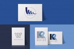 Logokomposition, verschiedene Logos, alle sehr modern