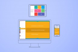 Lineare Darstellung von einem Monitor eine Tablet und einem Handy. Auf den Bildschirmen sind verschiedene Ansichten von der gleichen Website zu sehen. Die Website navgiert den Nutzer durch verschiedene Fragen hin zu einem Antwort-PDF. Die Website hat eine App-Anmutung und ist leicht zu bedienen. Große farbige Flächen sortieren und machen klar in welchem Bereich der Nutzer sich gerade befindet.