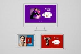 Lineare Darstellung von einem Monitor eine Tablet und einem Laptop, Auf den Bildschirmen sind verschiedene Ansichten von der gleichen Website zu sehen. Große einzelne Buchstaben, welche mit Fotos hinterlegt sind dominieren das Design. Verkauft wird Schmuck auf der Website. Frauenmodels und einfarbige Flächen geben der Website ihren modernen Stil.