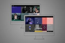 Zwei sich überlappende lineare Monitore. Auf den Monitoren ist ein moderner Onlineshop eines Juweliers zu sehn. Uhren Ringe und Ketten heben sich kontrastreich von farbigen Flächen ab. Die Flächen sind dabei nicht gleichgroß und werden durch modische Fotos aufgebrochen.
