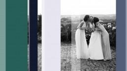 Bildkomposition aus farbigen Flächen, Transparenzen und einem Hochzeitsfoto. Auf dem Schwarz-Weiß-Foto ist eine Braut zusehen, welche von zwei Brautjungfern auf die Wange geküsst wird.