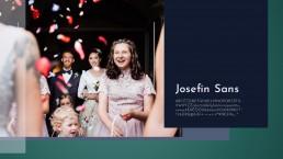 Bildkomposition aus farbigen Flächen, Transparenzen, Typography (Schriftart: Josefin Sans) und einem Hochzeitsfoto. Auf dem Foto ein Brautpaar und im Vordergrund lachende Blumenmädchen.
